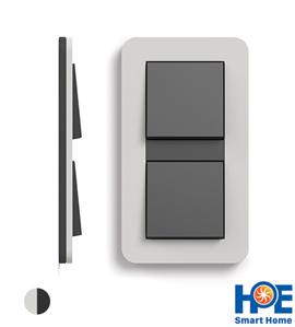 Bộ 2CT đơn Gira E3 màu Light grey soft touch và anthracite
