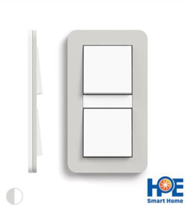 Bộ 2CT đơn Gira E3 màu Light grey soft touch và pure white glossy