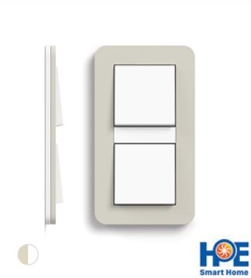 Bộ 2CT đơn Gira E3 màu Sand soft touch và pure white glossy