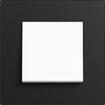Bộ công tắc đơn 10A-Khung đen nhám Esprit Linoleum-Plywood Gira