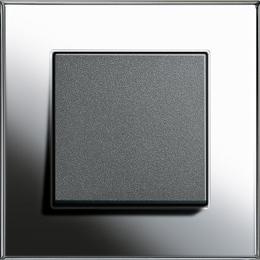Bộ công tắc đơn đen nhám 10A-Khung đơn Esprit Chrome Gira
