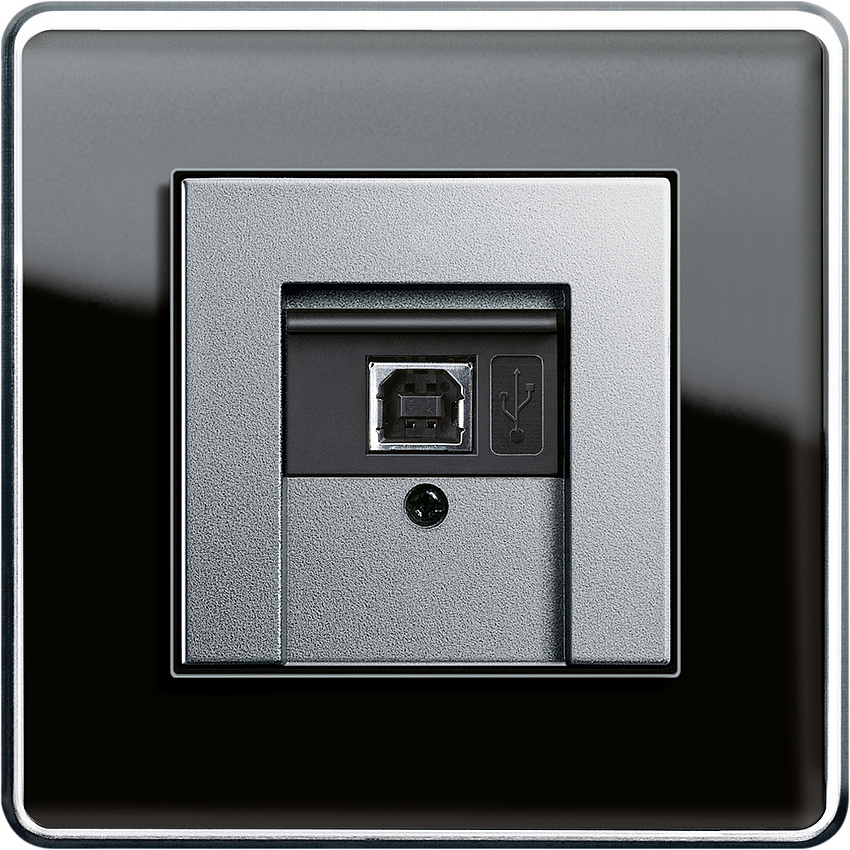 Bộ giao tiếp USB KNX, khung đơn Gira Esprit Glass C Black