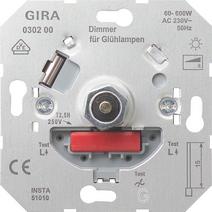 Ruột dimmer Gira nhấn on/off có thể kết hợp với công tắc 2 chiều