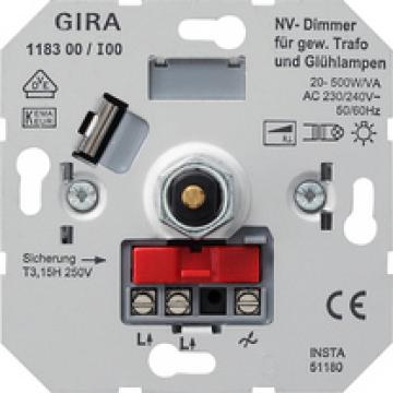 LV dimming insert with pressure 2-way switch