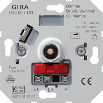 Light bulb dimming insert with pressure 2-way switch